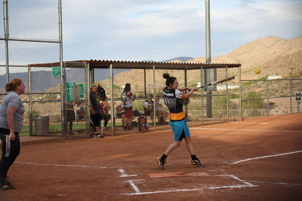 (Kelly Lehr) Alyssa Ybarra bats for Boulder Dam Brew Pub in the Boulder City Parks and Recreati ...