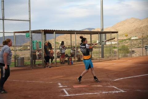 (Kelly Lehr) Alyssa Ybarra bats for Boulder Dam Brew Pub in the Boulder City Parks and Recreati ...