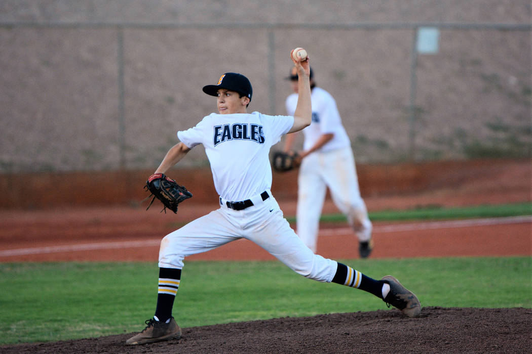 (Robert Vendettoli/Boulder City Review) Ben Schaffler throws a strike against Palo Verde in the ...