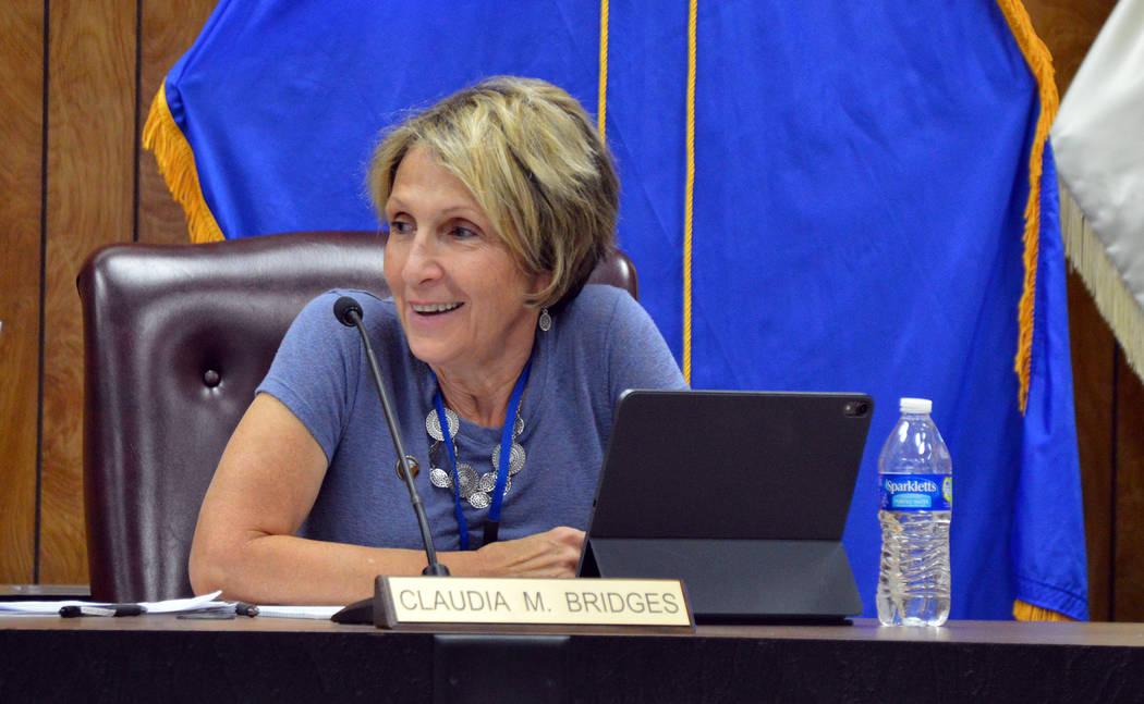 (Celia Shortt Goodyear/Boulder City Review) City Councilwoman Claudia Bridges sings happy birth ...