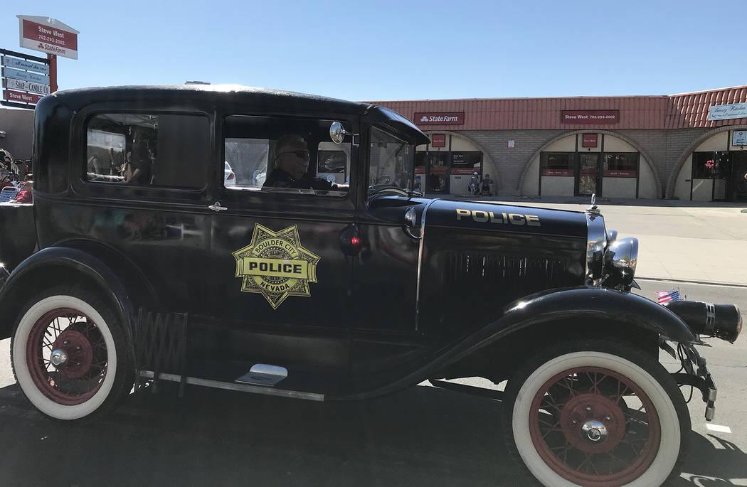 (Hali Bernstein Saylor/Boulder City Review) Boulder City Police Chief Tim Shea drives his 1930 ...
