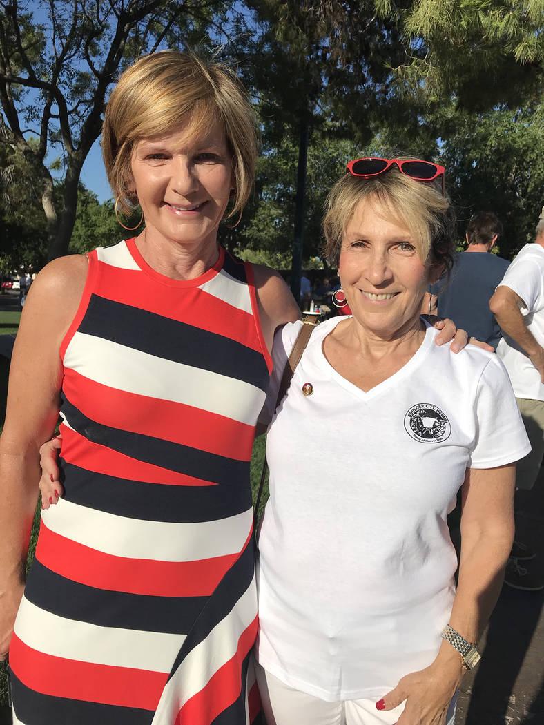 (Hali Bernstein Saylor/Boulder City Review) Congresswoman Susie Lee, left, meets with newly ele ...