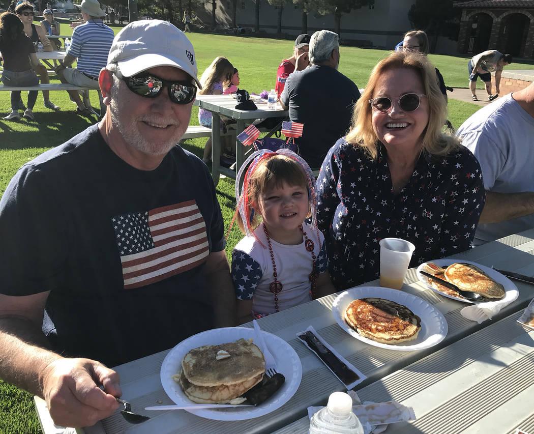 (Hali Bernstein Saylor/Boulder City Review) Enjoying a pancake breakfast presented by the Rotar ...