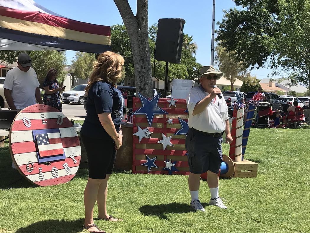 (Hali Bernstein Saylor/Boulder City Review) Mayor Kiernan McManus welcomes locals and visitors ...