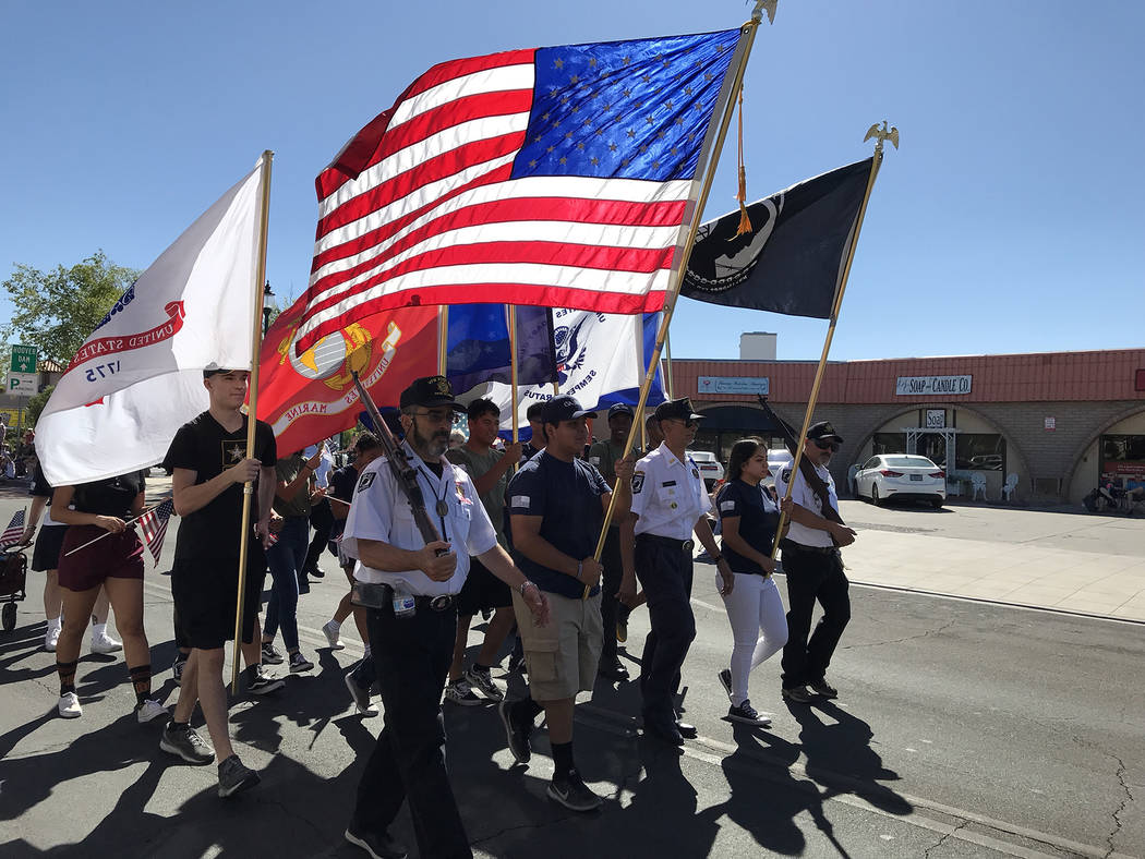 (Hali Bernstein Saylor/Boulder City Review) Members of the Veterans of Foreign Wars, Cpl. Matth ...