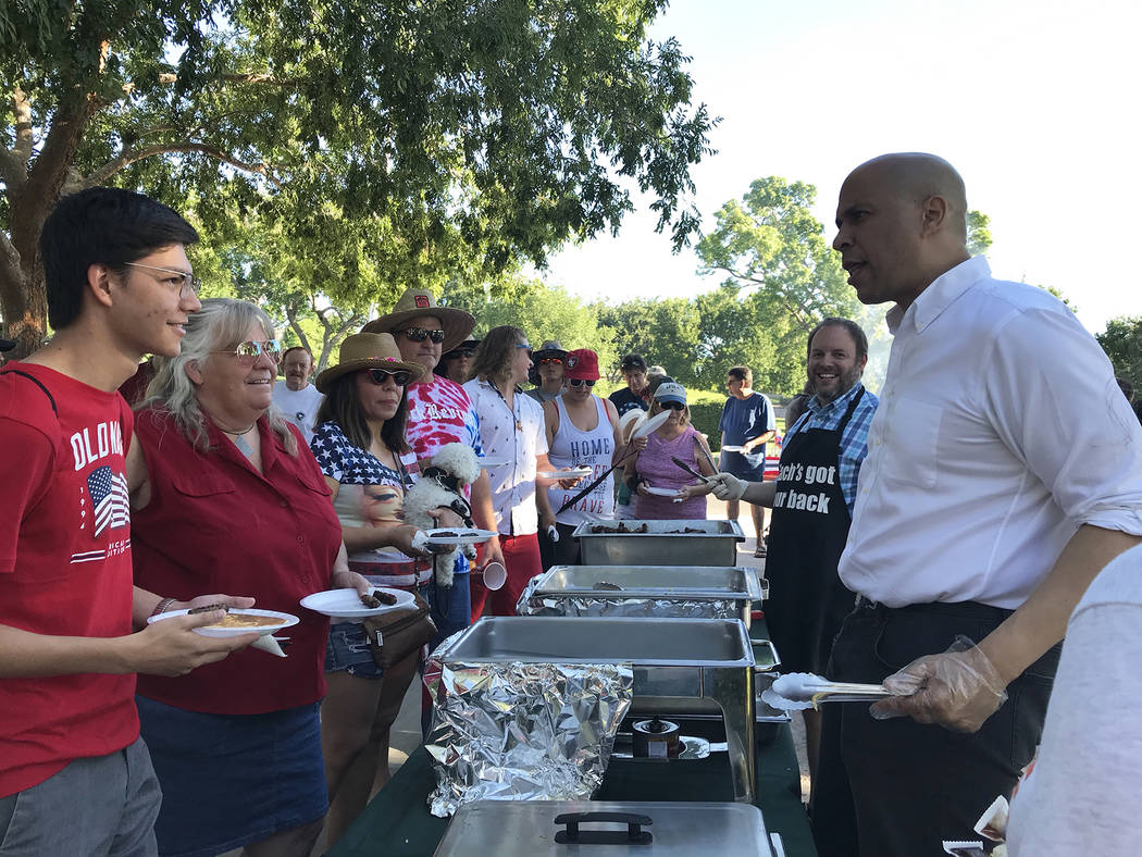 (Hali Bernstein Saylor/Boulder City Review) Presidential candidate New Jersey Sen. Cory Booker, ...