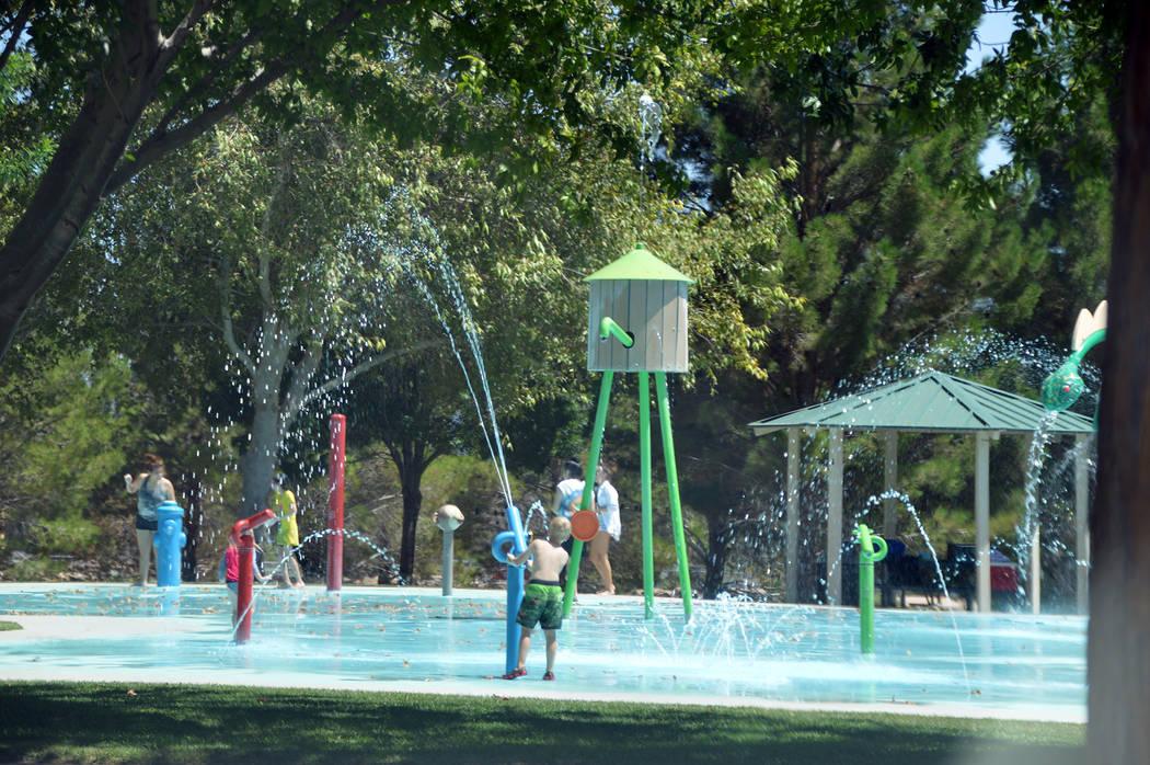 (Celia Shortt Goodyear/Boulder City Review) Boulder City's Splash Park is open all day during t ...