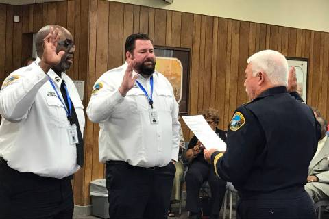(Hali Bernstein Saylor/Boulder City Review) Michael Thrower, left, and Ryan Creelman are sworn ...