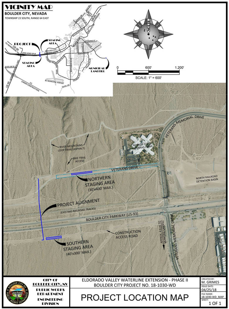 (Boulder City) Phase two of the city's Eldorado Valley Waterline extension is complete, and s ...