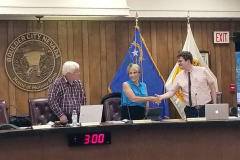 (Celia Shortt Goodyear/Boulder City Review) Mayor Kiernan McManus, from left, Councilwoman Clau ...