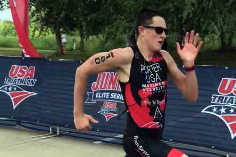 Ethan Porter of Boulder City, seen competing in the 2018 USA Triathlon Junior National Champion ...