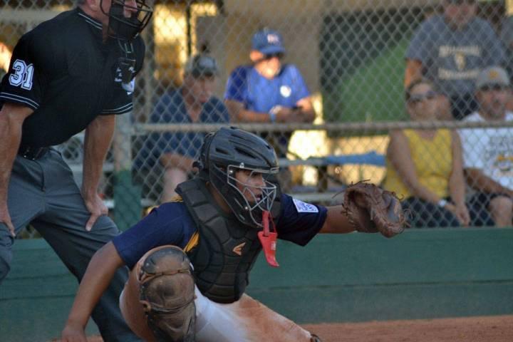 (Boulder City Little League) Catcher Cameron Calvez prepares to catch a pitch for Boulder City ...
