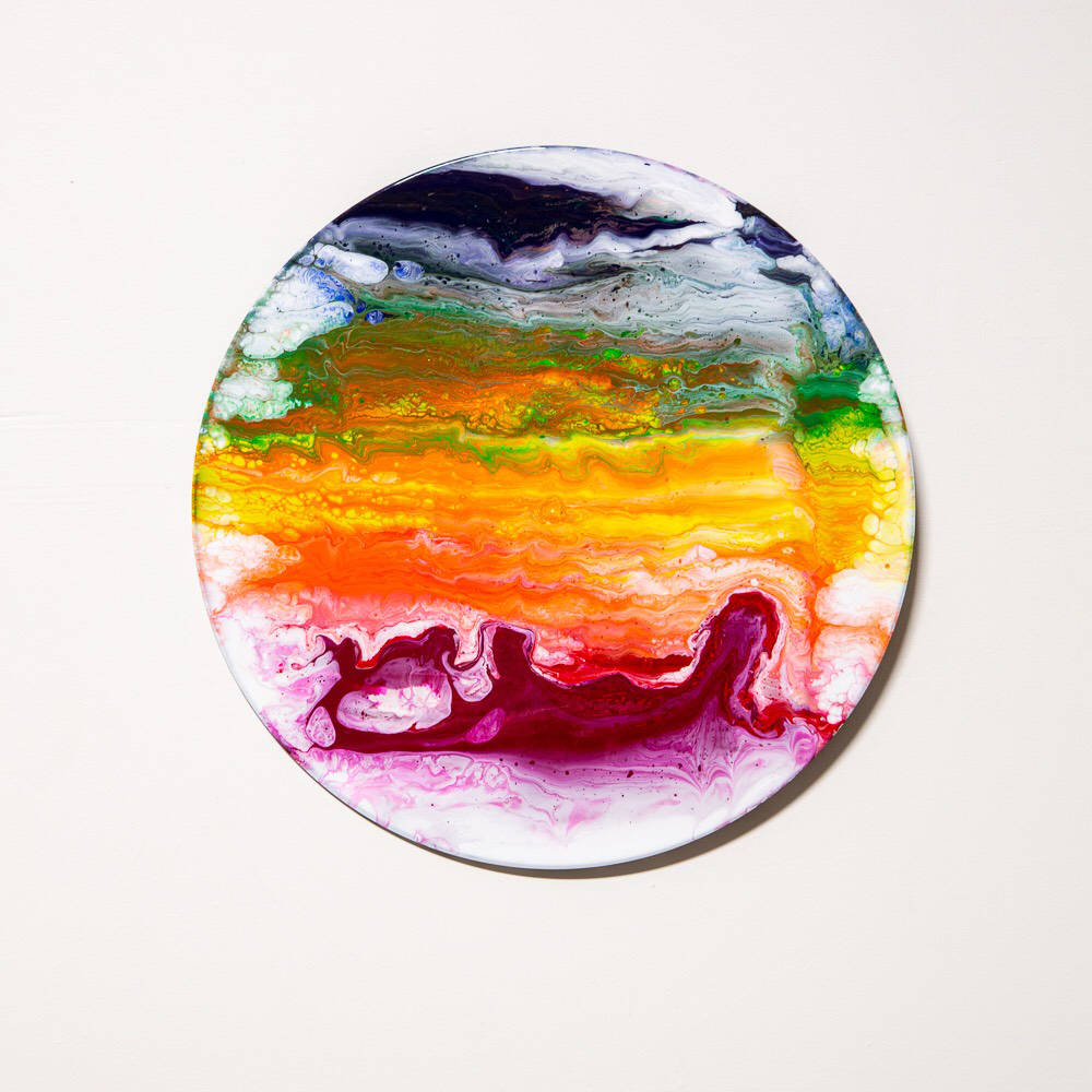 (Dawn Lockett) Acrylic paintings on recycled vinyl albums by Dawn Lockett are featured this mon ...