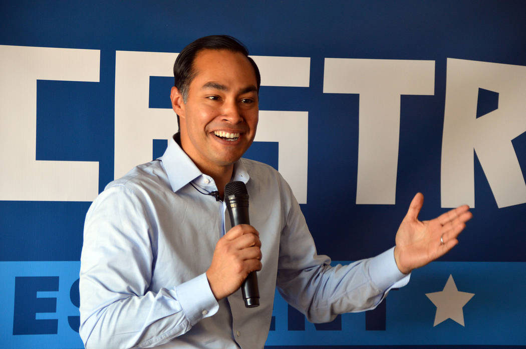 (Celia Shortt Goodyear/Boulder City Review) Democratic presidential candidate Julian Castro spe ...