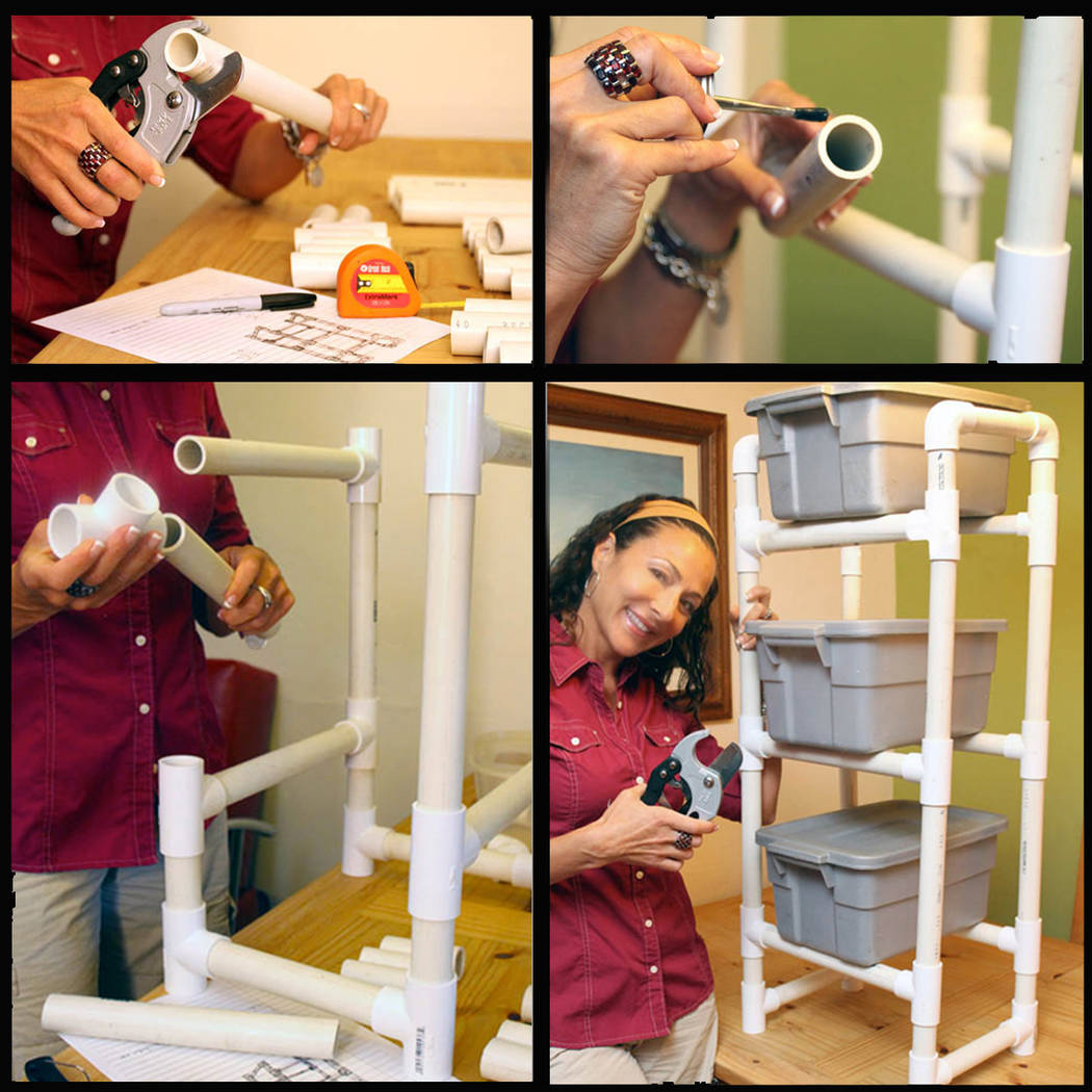 (Norma Vally) PVC pipes are ideal for creating custom racks to hold totes and cubbies to help c ...