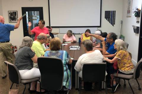 (Boulder City) City crossing guards attended a training session Tuesday, Aug. 6, to get ready f ...