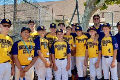 (Mary Ellen Smith) Members of the the Boulder City Little League Junior All-Stars team gather J ...