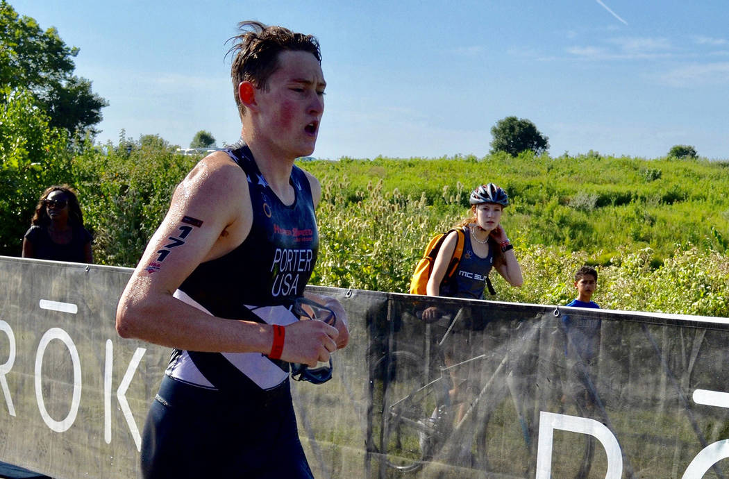 (Lynette Porter) Ethan Porter of Boulder City competed in the 2019 USA Triathlon Junior Nationa ...