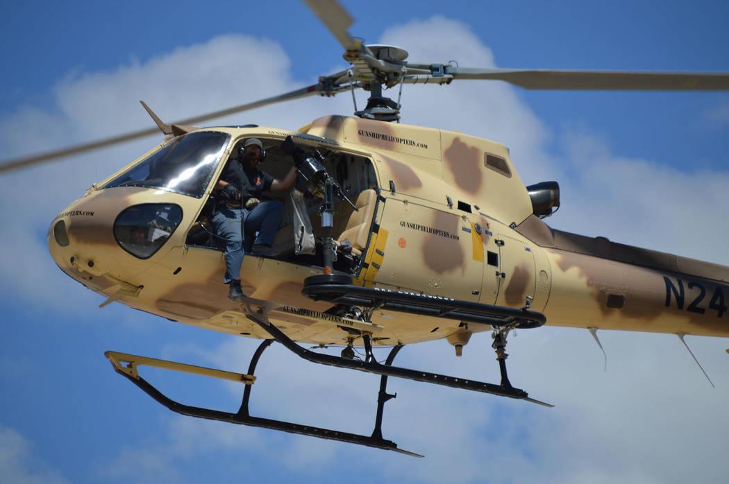 (Celia Shortt Goodyear/Boulder City Review) Ben Wildfong, an air range safety officer with Guns ...