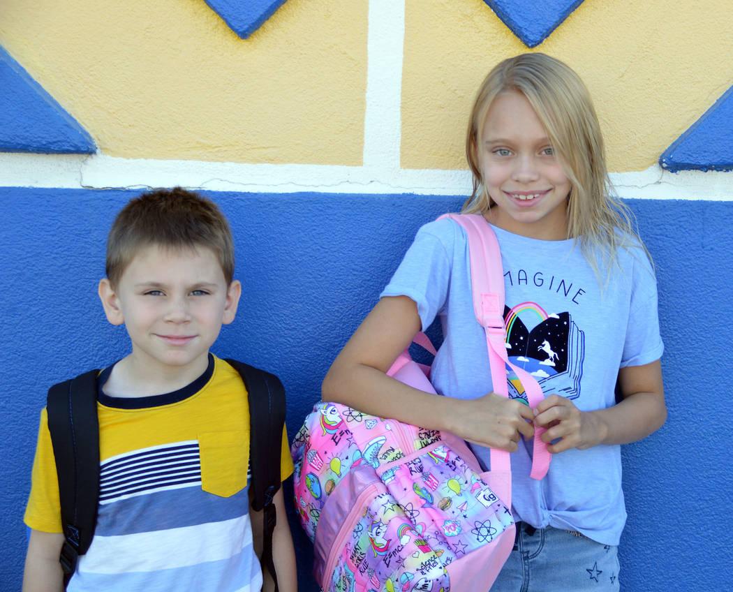 Celia Shortt Goodyear/Boulder City Review Kindergarten student Alexander Gorman and his sister, ...