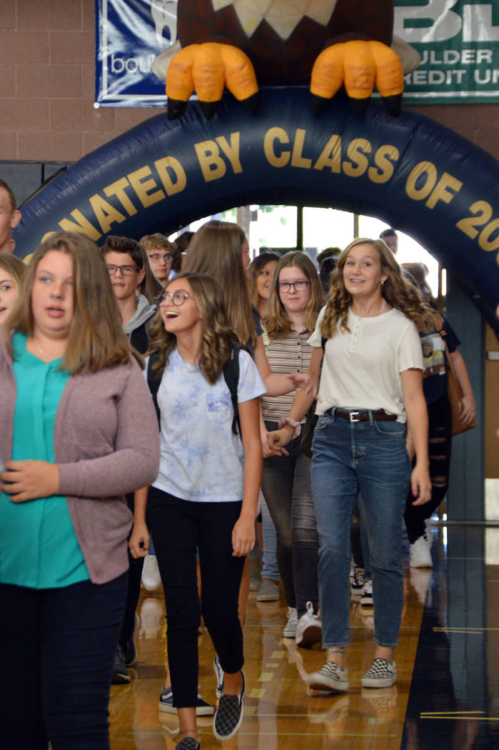 Celia Shortt Goodyear/Boulder City Review Freshman students are welcomed into the gym at Boulde ...