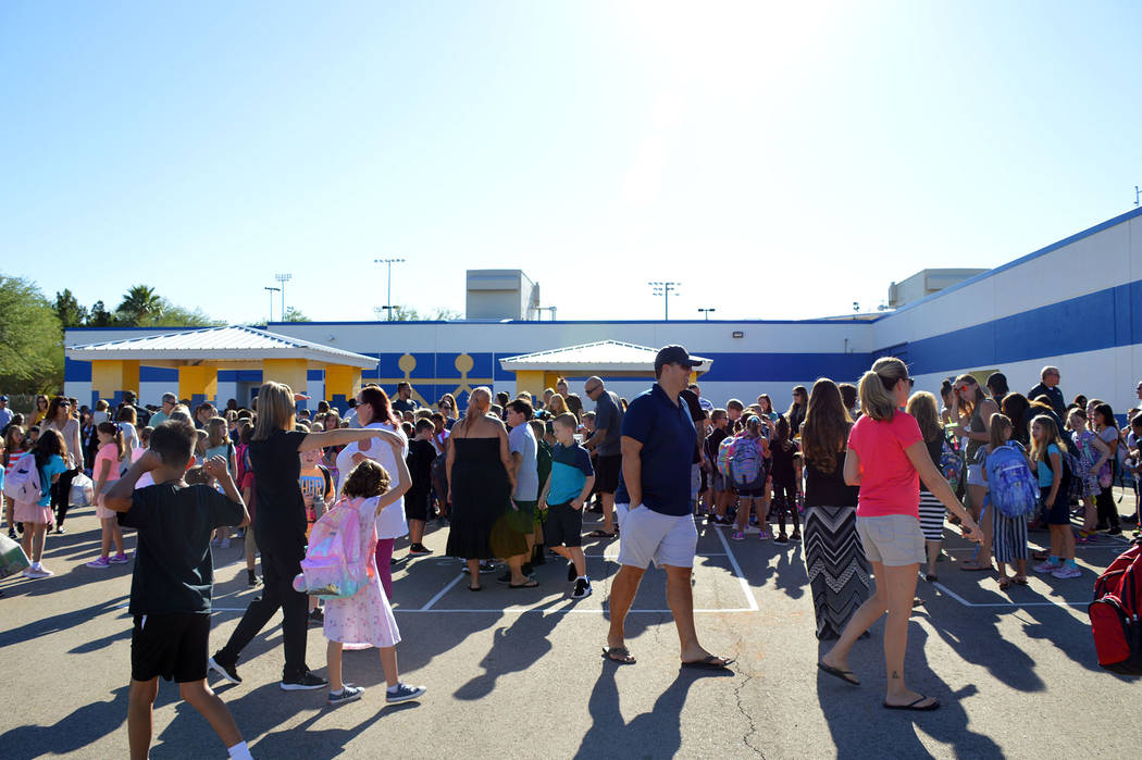 Celia Shortt Goodyear/Boulder City Review Students and parents fill the courtyard at King Eleme ...