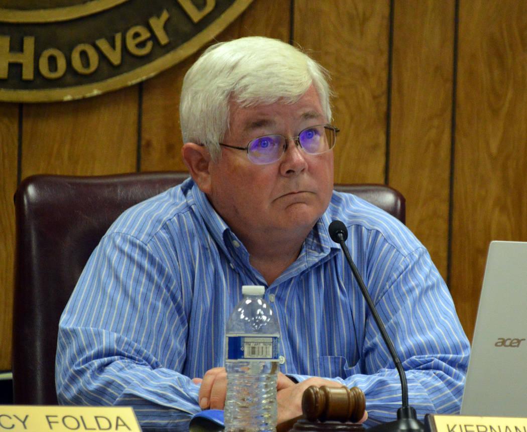 (Celia Shortt Goodyear/Boulder City Review) Mayor Kiernan McManus listens to a presentation at ...