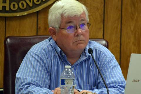 (Celia Shortt Goodyear/Boulder City Review) Mayor Kiernan McManus listens to a presentation at ...