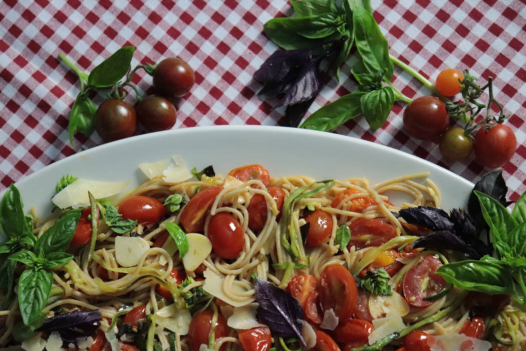 (Patti Diamond) Summer produce, especially tomatoes, zucchini and basil, blend together to crea ...