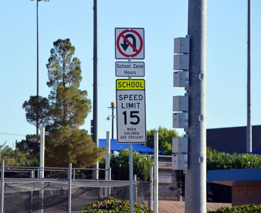 (Celia Shortt Goodyear/Boulder City Review) The new signage in the school zones in Boulder City ...