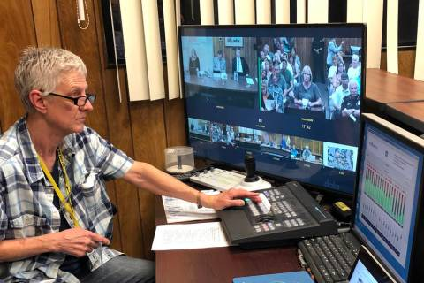 (Boulder City) Boulder City TV technician Holly Webb runs the cameras and sound system at Tuesd ...