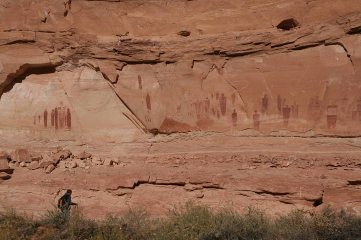 (Deborah Wall) These Barrier Canyon Style pictographs at the Great Gallery at Canyonlands Natio ...