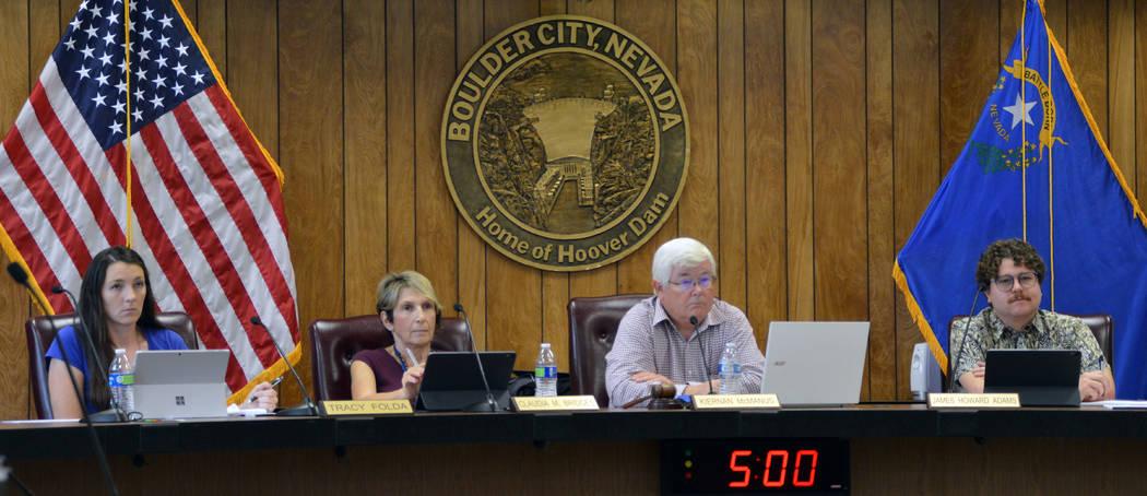 (Celia Shortt Goodyear/Boulder City Review) From left, Councilwoman Tracy Folda, Councilwoman C ...
