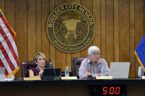 (Celia Shortt Goodyear/Boulder City Review) From left, Councilwoman Tracy Folda, Councilwoman C ...