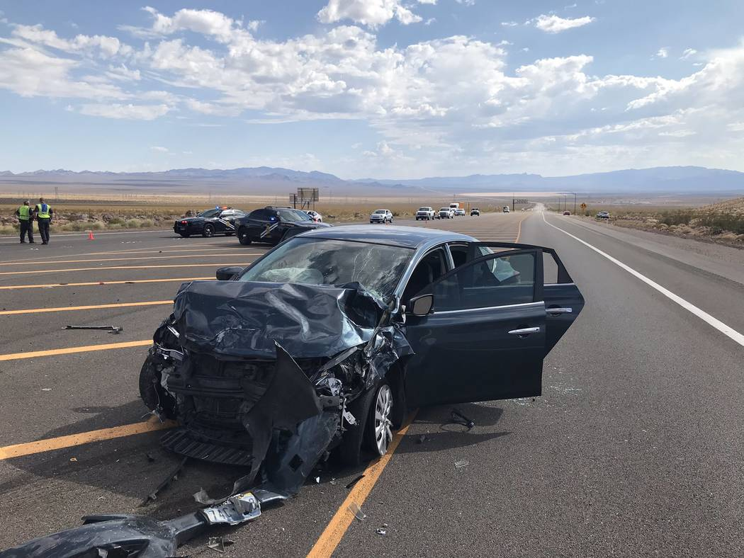 (Nevada Highway Patrol/Twitter) A 2003 Toyota Corolla is seen Wednesday, Sept. 4, 2019, after i ...