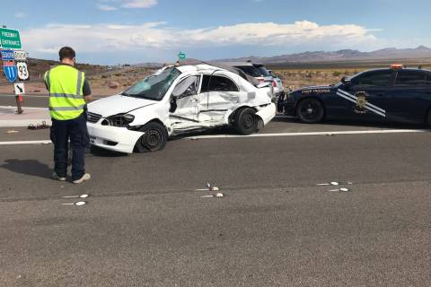 (Nevada Highway Patrol/Twitter) A Nissan Sentra that was traveling on U.S. Highway 95 is seen o ...