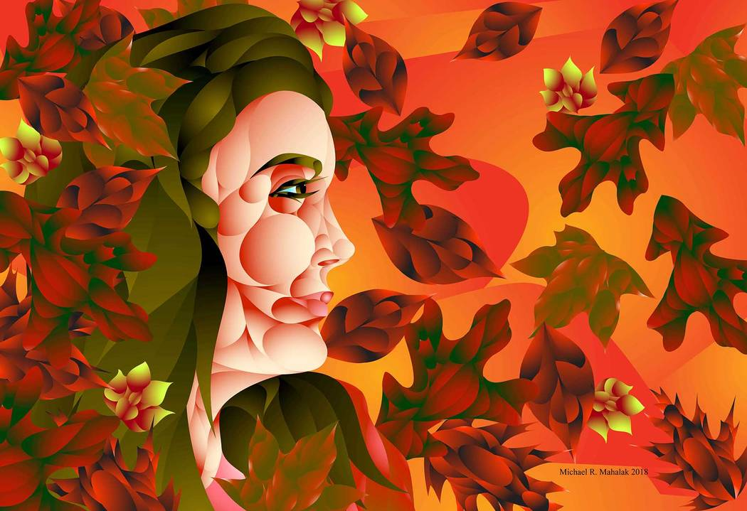 """(Boulder City Art Guild) """"Sandi Woman in Red"""" was created by artist Michael Mahal ..."""