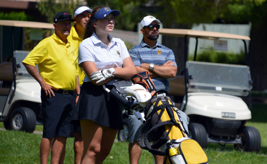 (Celia Shortt Goodyear/Boulder City Review) Boulder City High School sophomore golfer Ella McKe ...
