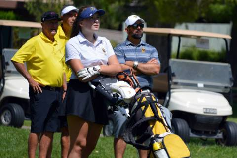 (Celia Shortt Goodyear/Boulder City Review) Boulder City High School sophomore golfer Ella McKe ...