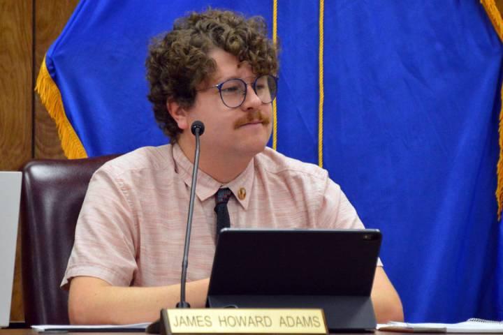 (Celia Shortt Goodyear/Boulder City Review) City Councilman James Howard Adams listens to a pre ...