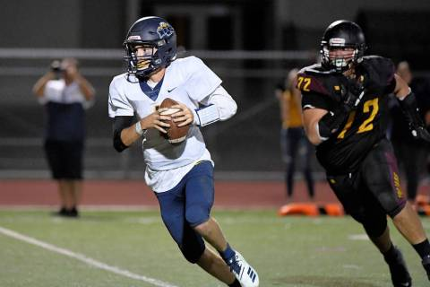 (Peter Davis/Boulder City Review) Senior Parker Reynolds, quarterback for Boulder City High Sch ...