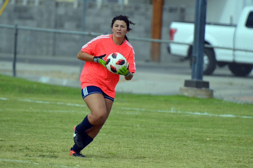 (Celia Shortt Goodyear/Boulder City Review) Boulder City High School goalie Erin Taggard, a sen ...