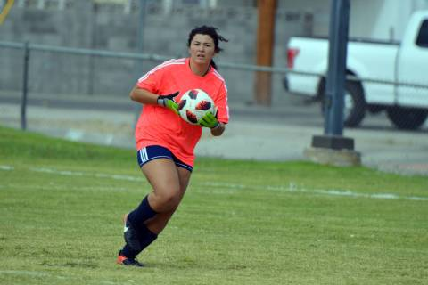 (Celia Shortt Goodyear/Boulder City Review) Boulder City High School goalie Erin Taggard, a sen ...