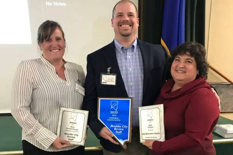 (Boulder City Review) Staff from the Boulder City Review, from left, reporter Celia Shortt Good ...