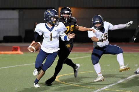 (Peter Davis/Boulder City Review) Senior Parker Reynolds, No. 1, seen Sept. 13 in the game agai ...