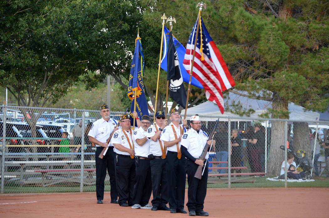 Celia Shortt Goodyear/Boulder City Review The honor guard for the Cpl. Matthew A. Commons Memor ...
