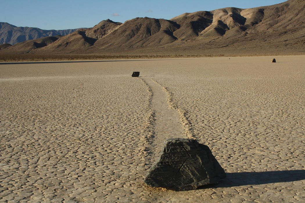 (Deborah Wall) Some of the moving rocks found at Racetrack playa in Death Valley National Park ...