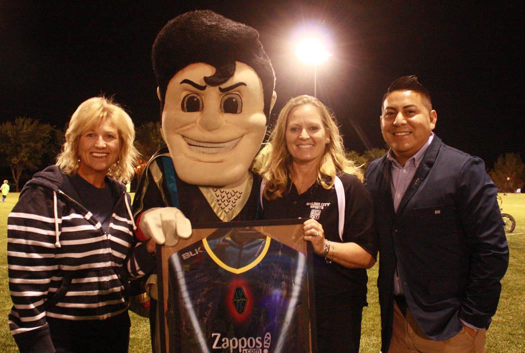 (Boulder City Parks and Recreation Department) Alex Ortega, right, of the Las Vegas Lights FC p ...