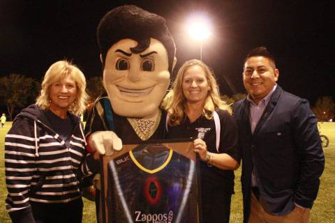 (Boulder City Parks and Recreation Department) Alex Ortega, right, of the Las Vegas Lights FC p ...