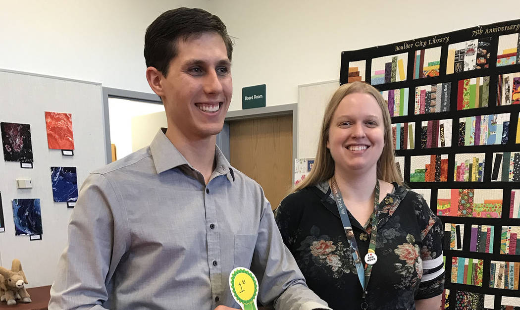 (Hali Bernstein Saylor/Boulder City Review) Austen Brown was presented with an InstaPot by Sama ...